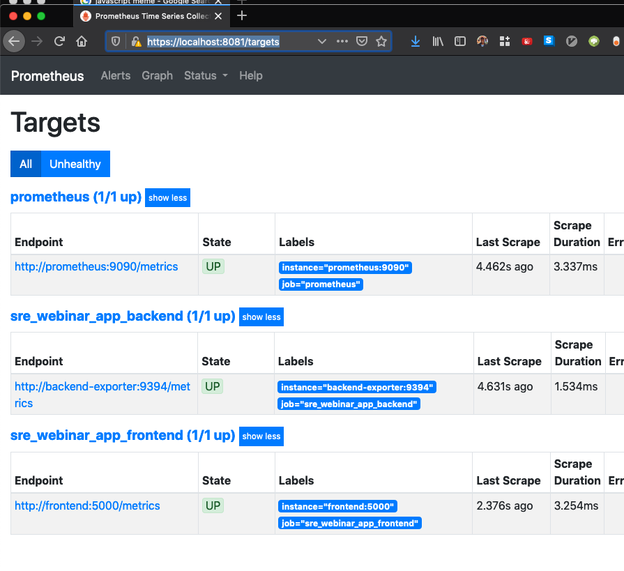 Result after adding Prom target and exporter.
